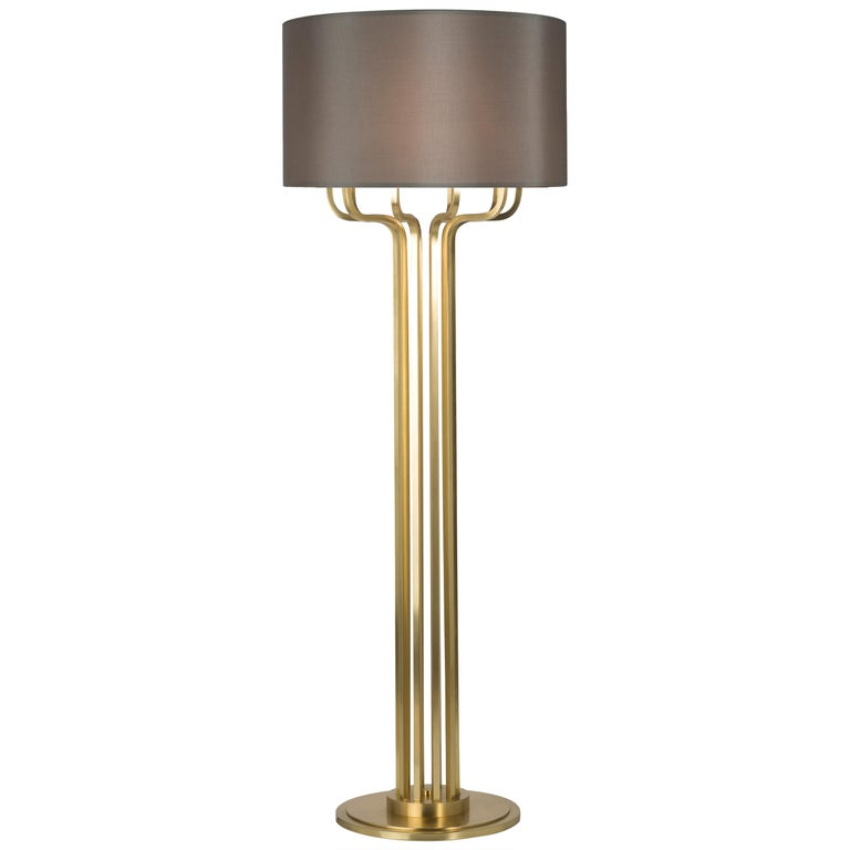 21st Century Maxime Floor Lamp in Brass by Officina Luce Gray Shantung Shade For Sale