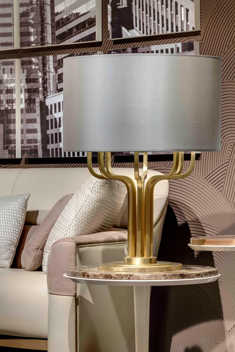 Art Deco 21st Century Maxime Table Lamp in Brass by Officina Luce Gray Shantung Shade For Sale