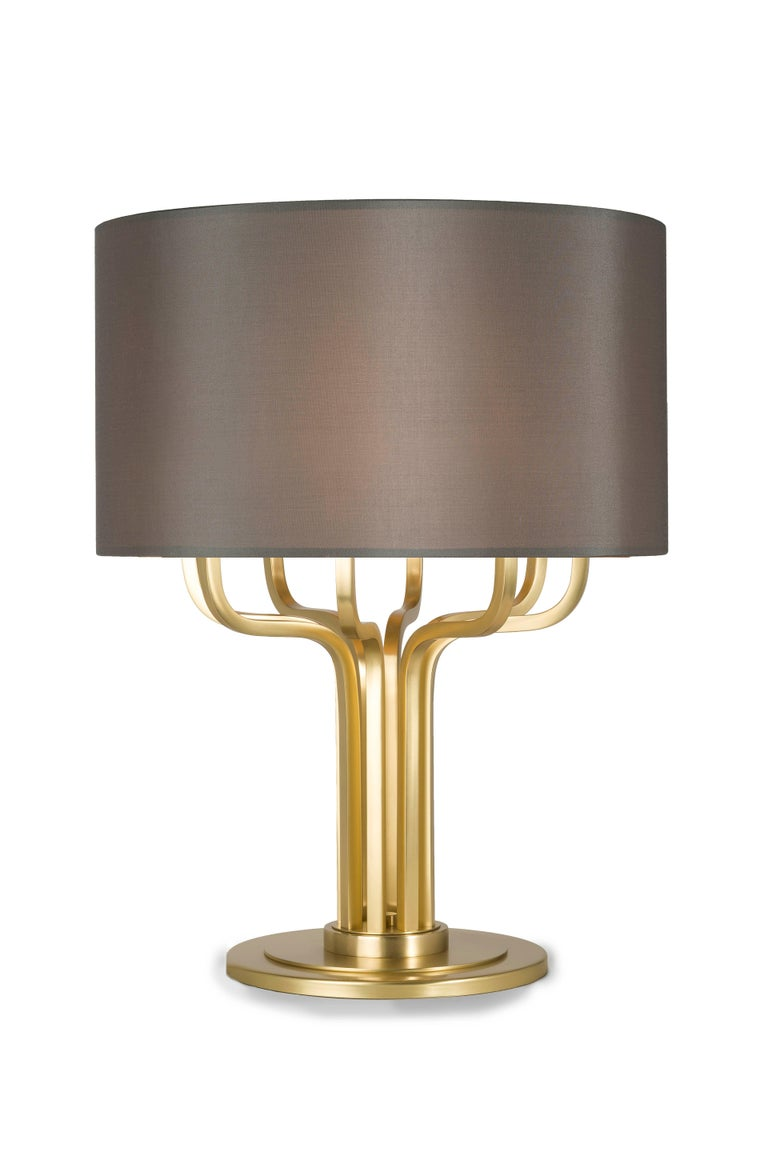 Brushed 21st Century Maxime Table Lamp in Brass by Officina Luce Gray Shantung Shade For Sale