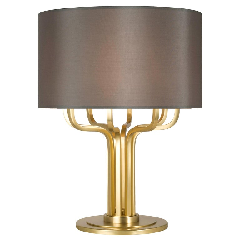 21st Century Maxime Table Lamp in Brass by Officina Luce Gray Shantung Shade For Sale