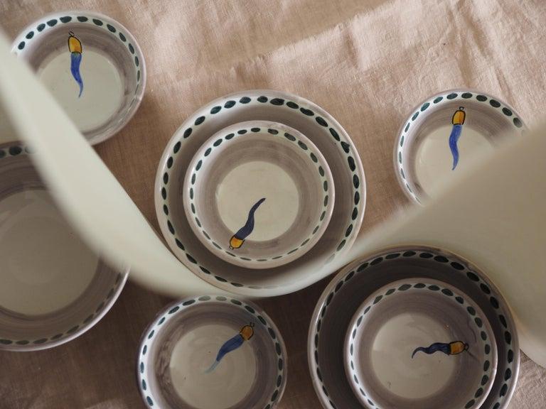 Italian 21st Century Medium Hand Painted Ceramic Bowl in Blue and White Handmade For Sale