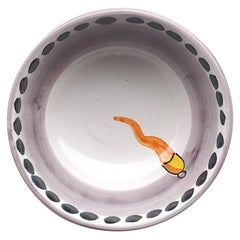 21st Century Medium Hand Painted Ceramic Bowl in Orange and White Handmade