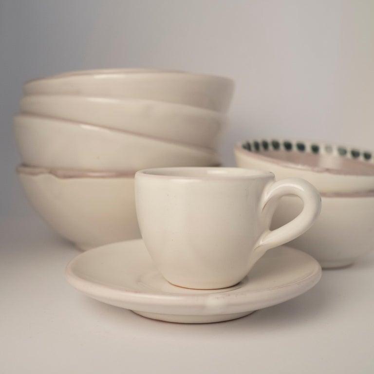 Hand-Crafted 21st Century Medium Ceramic Bowl in White Handmade For Sale