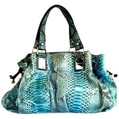 "21st Century Michael Kors Blue Python Leather & Chrome ""Rehearsal""  Hand Bag"