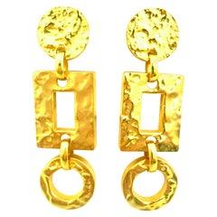 21st Century Michael Kors Gold Plate Monumental Pair Of Dangle Earrings