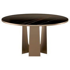 21st Century Mills Dining Table Brass And Marble