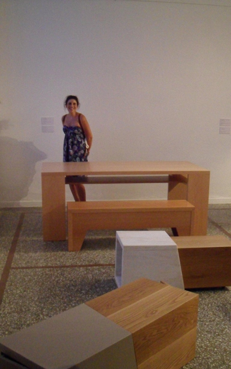 Contemporary 21st Century, Minimalist, European, Bench Made of Lined Beechwood in Light Brown For Sale