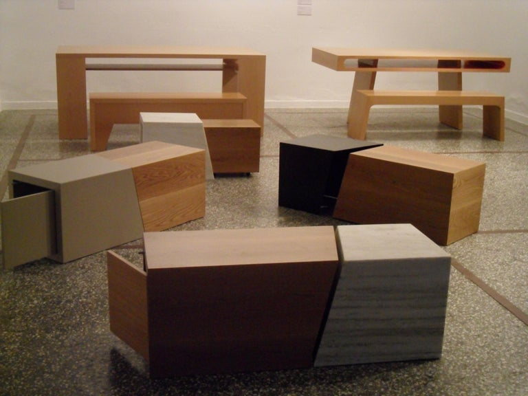 21st Century, Minimalist, European, Bench Made of Lined Beechwood in Light Brown For Sale 1