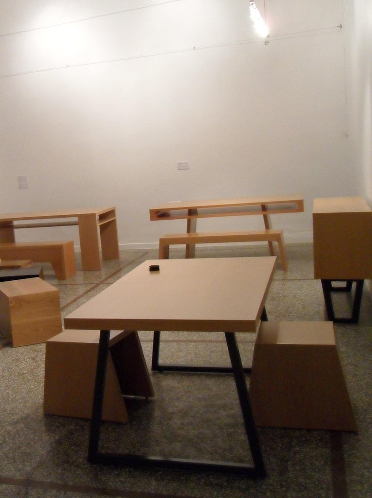Contemporary 21st Century, Minimalist, European, Table of lined beechwood and Metal Base For Sale