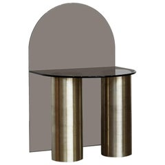 21st Century Minimalist Solid Brass and Glass, Low Seat