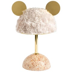 21st Century Minos Table Lamp in White Mohair, Terrazzo and Polished Brass