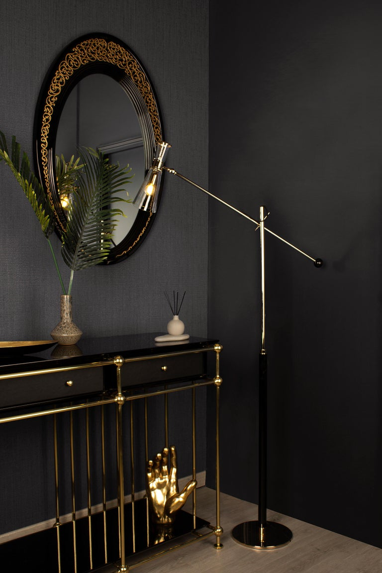 Portuguese 21st Century Mitte Floor Lamp Brass Glass For Sale