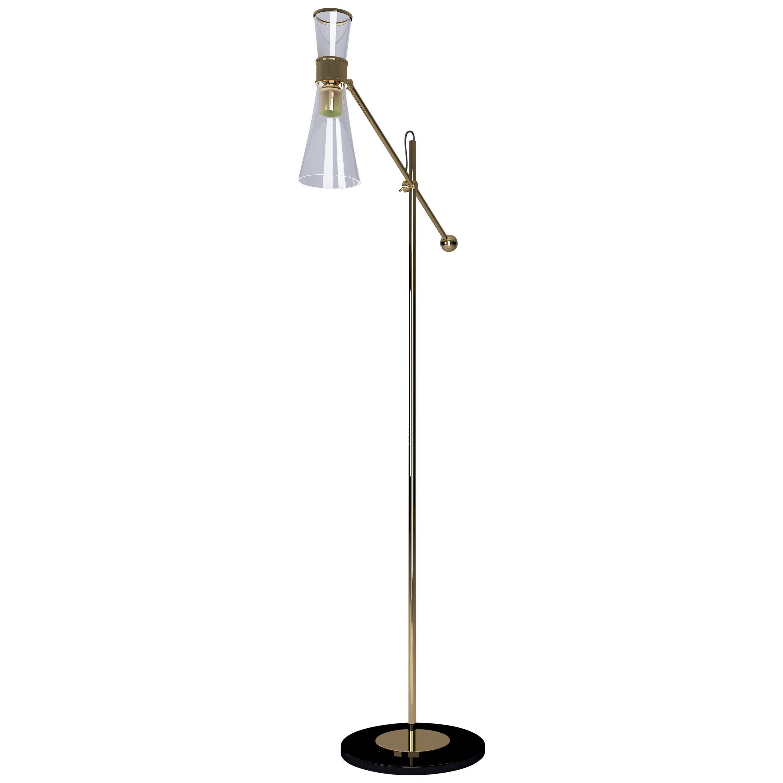21st Century Mitte Floor Lamp Brass Glass
