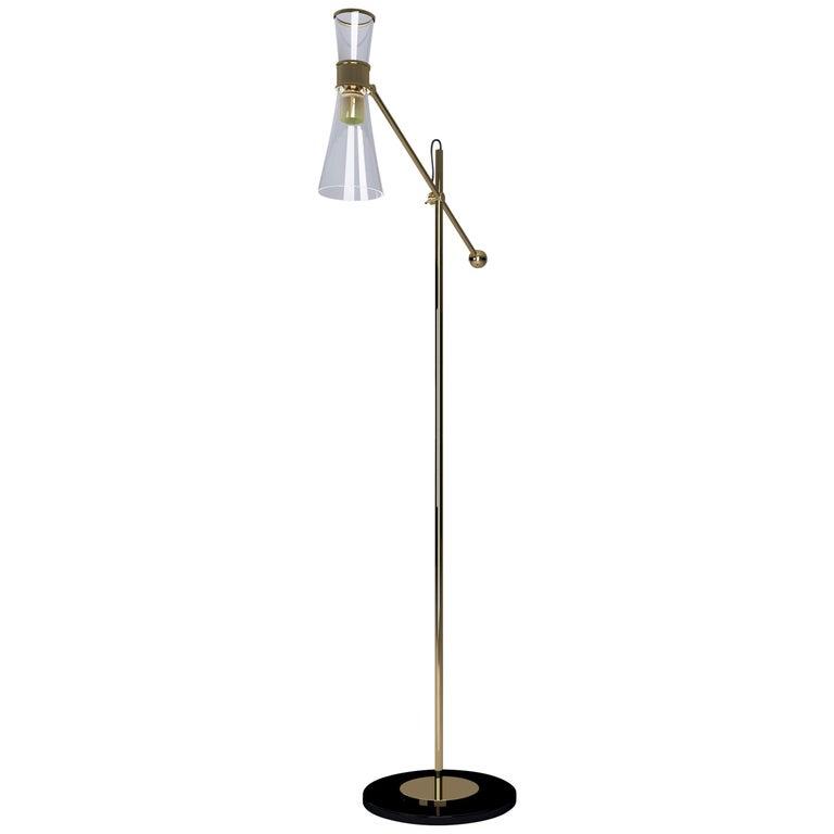 21st Century Mitte Floor Lamp Brass Glass For Sale