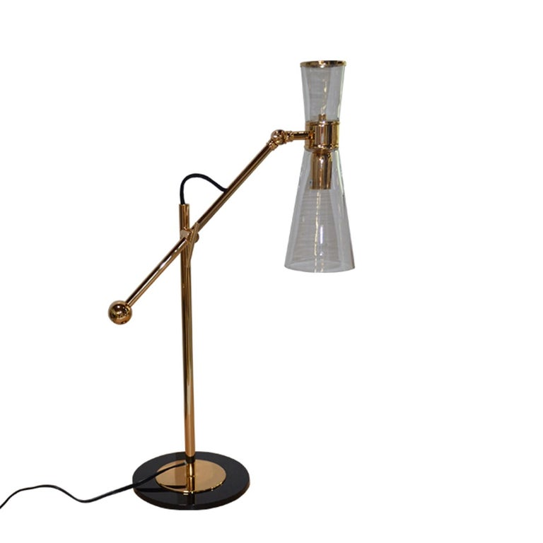 Portuguese 21st Century Mitte Table Lamp Brass Glass For Sale