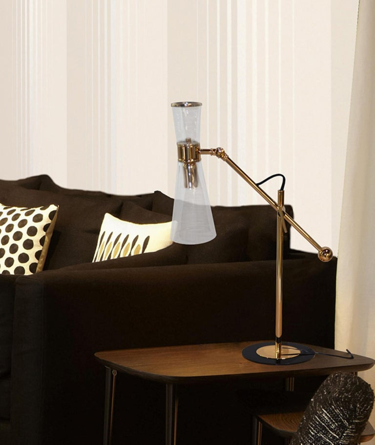 21st Century Mitte Table Lamp Brass Glass In New Condition For Sale In RIO TINTO, PT