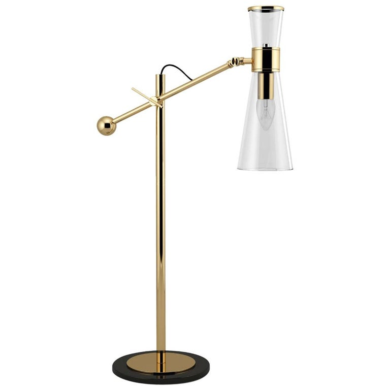21st Century Mitte Table Lamp Brass Glass For Sale