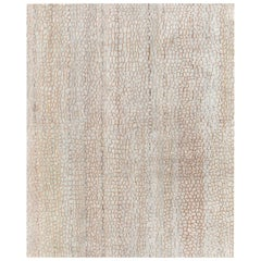 21st Century Modern Abstract Camel and Off-White Wool Rug