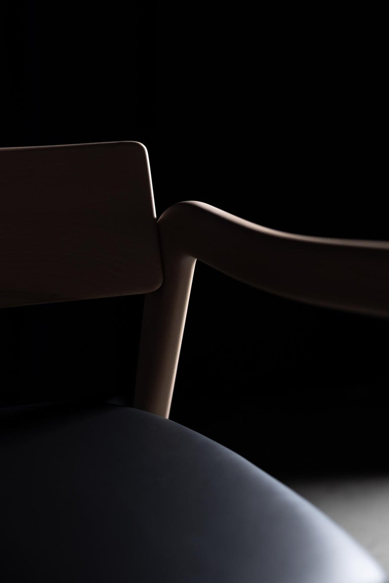 21st Century Modern Anjos Chair with Armrests Leather Handcrafted by Greenapple For Sale 4