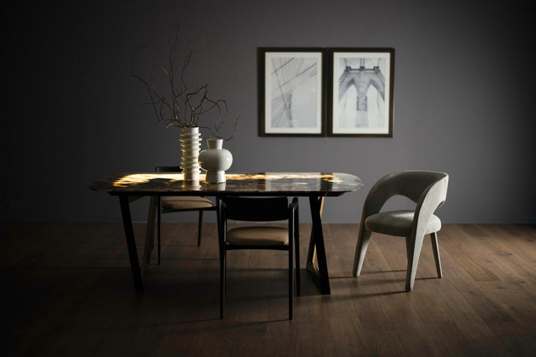 Portuguese 21st Century Modern Anjos Chair with Armrests Leather Handcrafted by Greenapple For Sale