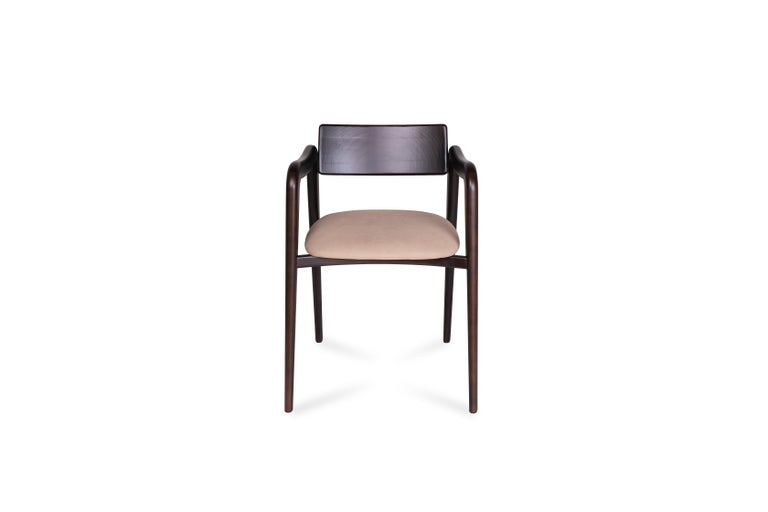 21stcentury contemporary modern solid beech anjos chair with armrests light brown leather handcrafted in Portugal - Europe by Greenapple.   Anjos chair materials Solid beech chair, dark brown stained with eggshel finish. Seat upholstered in