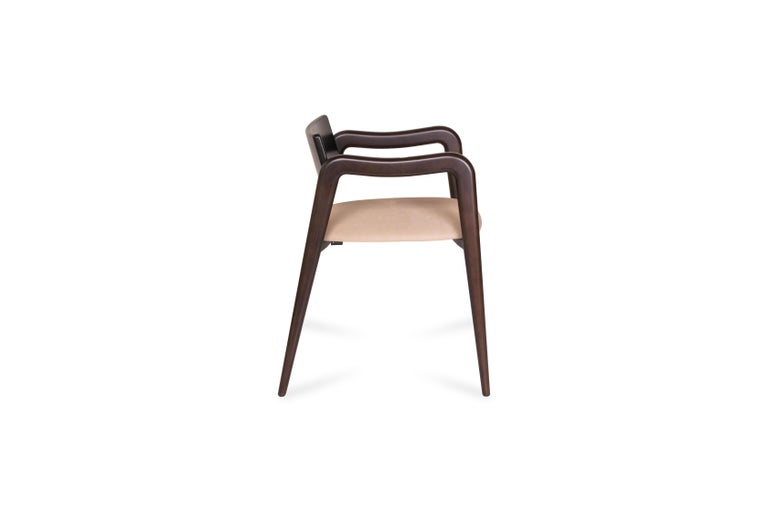 Hand-Crafted 21st Century Modern Anjos Chair with Armrests Leather Handcrafted by Greenapple For Sale