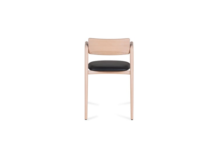 Contemporary 21st Century Modern Anjos Chair with Armrests Leather Handcrafted by Greenapple For Sale