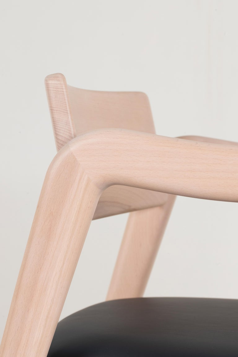 Wood 21st Century Modern Anjos Chair with Armrests Leather Handcrafted by Greenapple For Sale