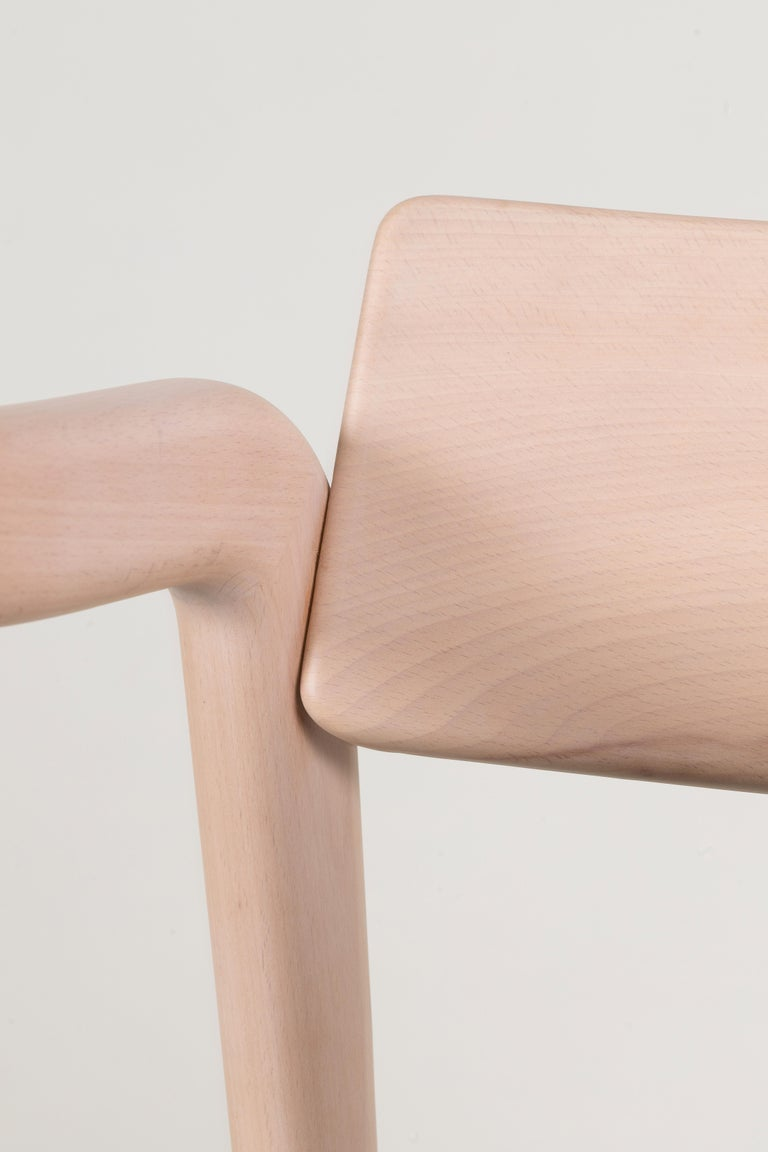 21st Century Modern Anjos Chair with Armrests Leather Handcrafted by Greenapple For Sale 1