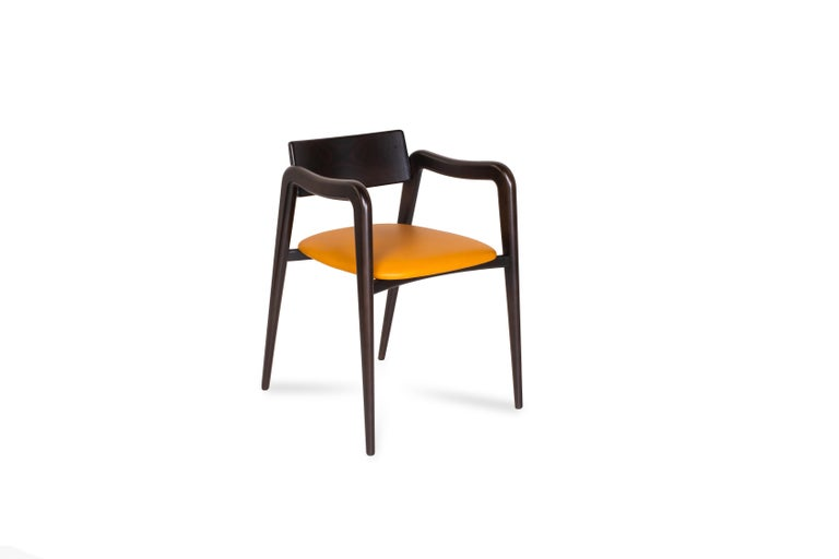 21st Century Modern Anjos Chair with Armrests Leather Handcrafted by Greenapple For Sale 2