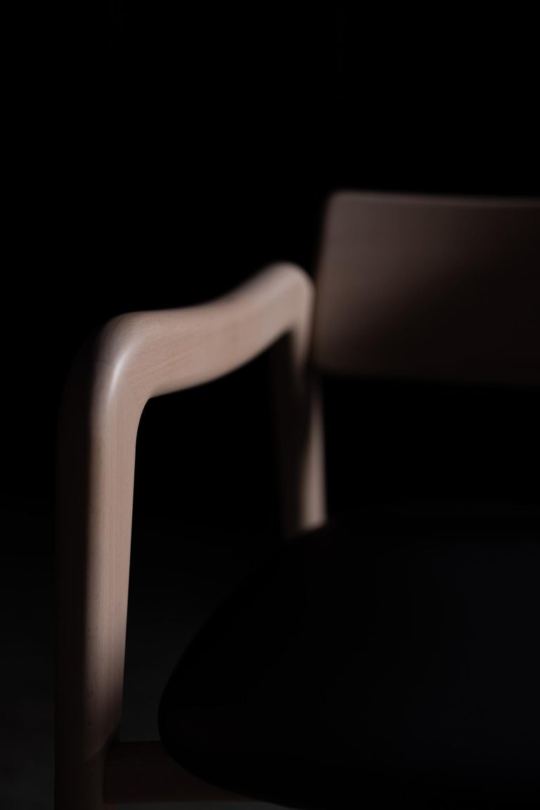 21st Century Modern Anjos Chair with Armrests Leather Handcrafted by Greenapple For Sale 3