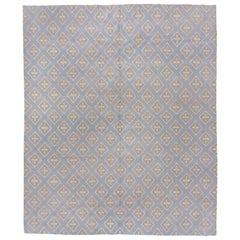 21st Century Modern Baby Blue Tibetan Rug, High Knot Count, Clover Design