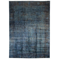 21st Century Modern Blue Oushak Wool Rug