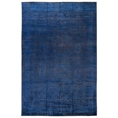 21st Century Modern Blue Over-dyed Wool Rug