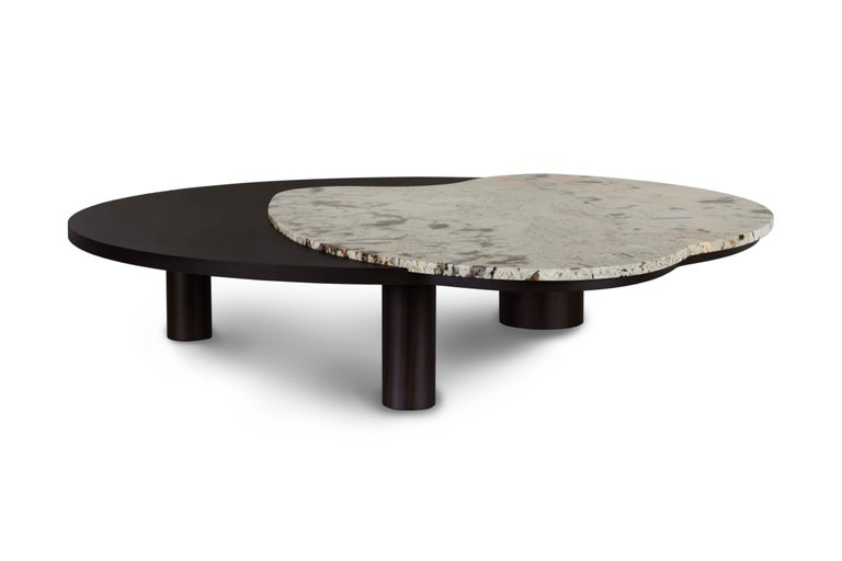 21st century contemporary modern bordeira L patagonia granite coffee table handcrafted in portugal- Europe by Greenapple.   Bordeira coffee table materials Coffee table solid beech, dark brown stained with matt finish. Top inlay detail in polished