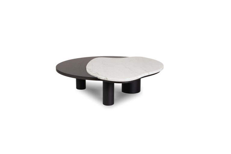 21st century contemporary modern bordeira coffee table calacatta bianco handcraftedin Portugal - Europe by Greenapple.   Bordeira coffee table materials Coffee table with top in American oak veneer, open-pore black stained with matt