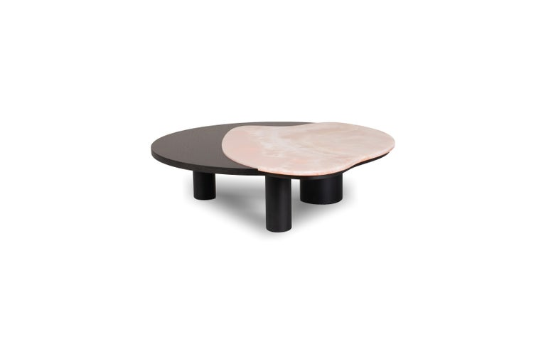 21st century contemporary modern Bordeira pink onyx coffee tableHandcrafted in Portugal - Europe by Greenapple.   Bordeira coffee table materials  Coffee table with top in American oak veneer, open-pore black stained with matt finish. Inlay