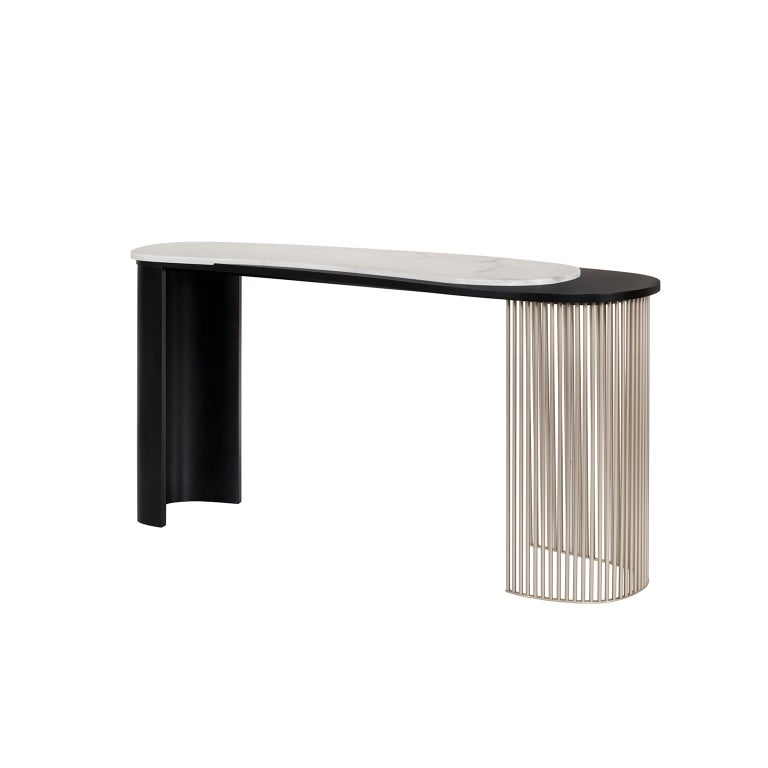 21st century contemporary art deco Castelo console handcrafted in Portugal by Greenapple  Castelo console materials Wooden console with main structure lacquered in satin black. Table top in polished Calacatta Bianco marble. Tubular metal base