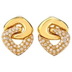 21st Century Modern Diamond 18 Karat Dangle Omega Clip Earrings