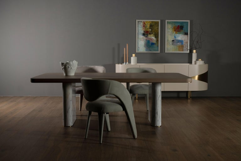 21st century contemporary modern fall 8-seat dining table Calacatta Bianco American oak handcrafted in Portugal - Europe by Greenapple.   Fall 8-seat dining table materials  Dining table top in American oak veneer open-pore brownish-grey stained