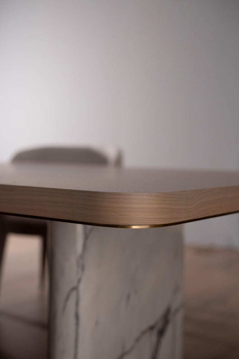 Brushed 21st Century Modern Fall Dining Table Handcrafted in Portugal by Greenapple For Sale
