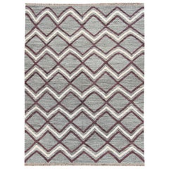 21st Century Modern Gray Multicolored Turkish Flat-Weave Rug