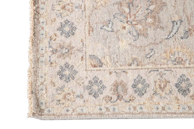 Hand-Knotted 21st Century Modern Indian Wool Runner Rug For Sale