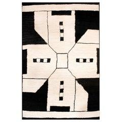 21st Century Modern Jute Carpet Rug by Kilombo Home in Black & Ivory