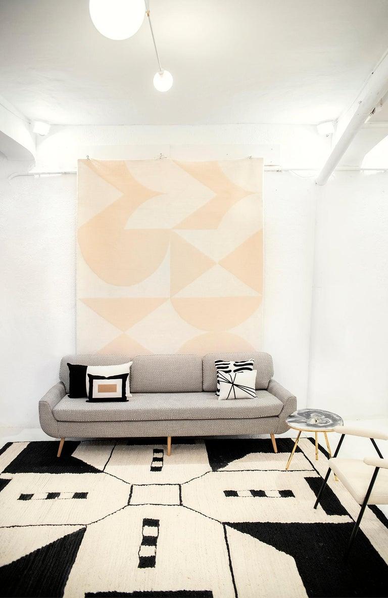 Hand-Woven 21st Century Modern Jute Carpet Rug by Kilombo Home in Black & Ivory For Sale