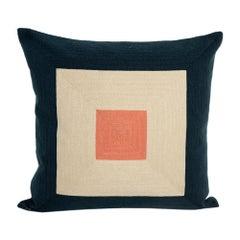 21st Century Modern Kilombo Home Embroidery Pillow Cotton Smart Navy Blue&Salmon
