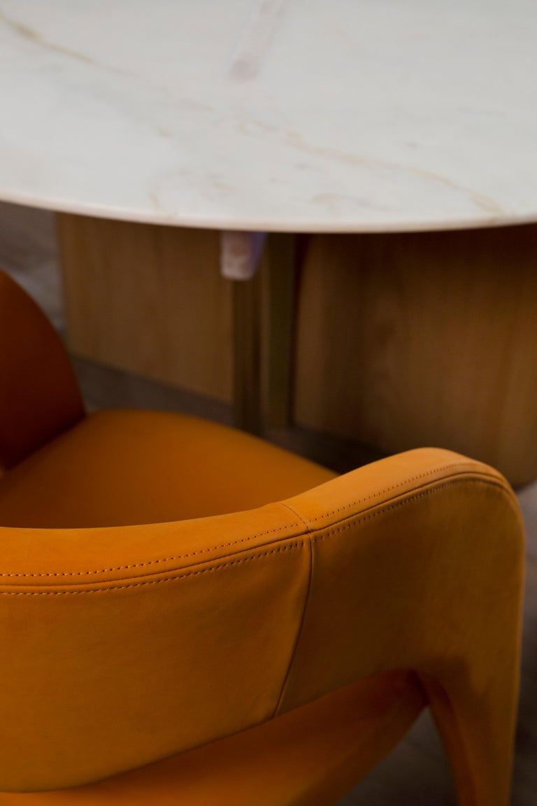 21st Century Modern Laurence Chair with Armrests Leather Handcrafted Greenapple For Sale 5