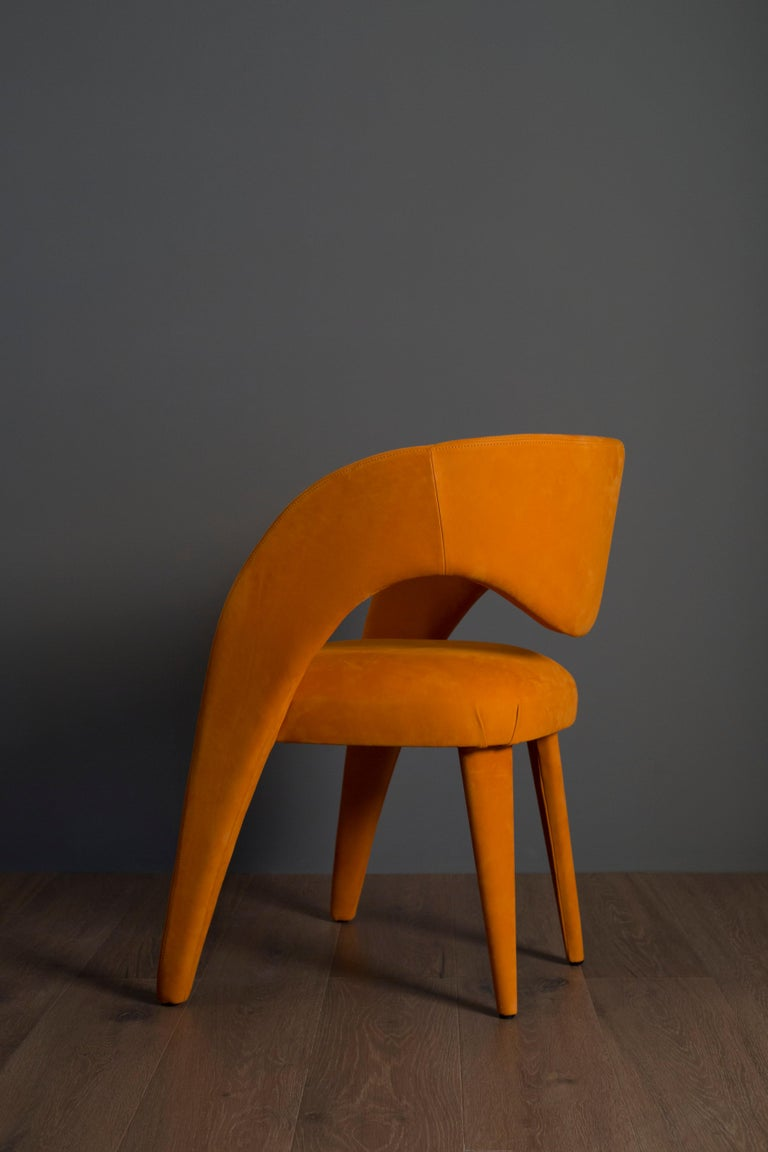 21st Century Modern Laurence Chair with Armrests Leather Handcrafted Greenapple For Sale 6