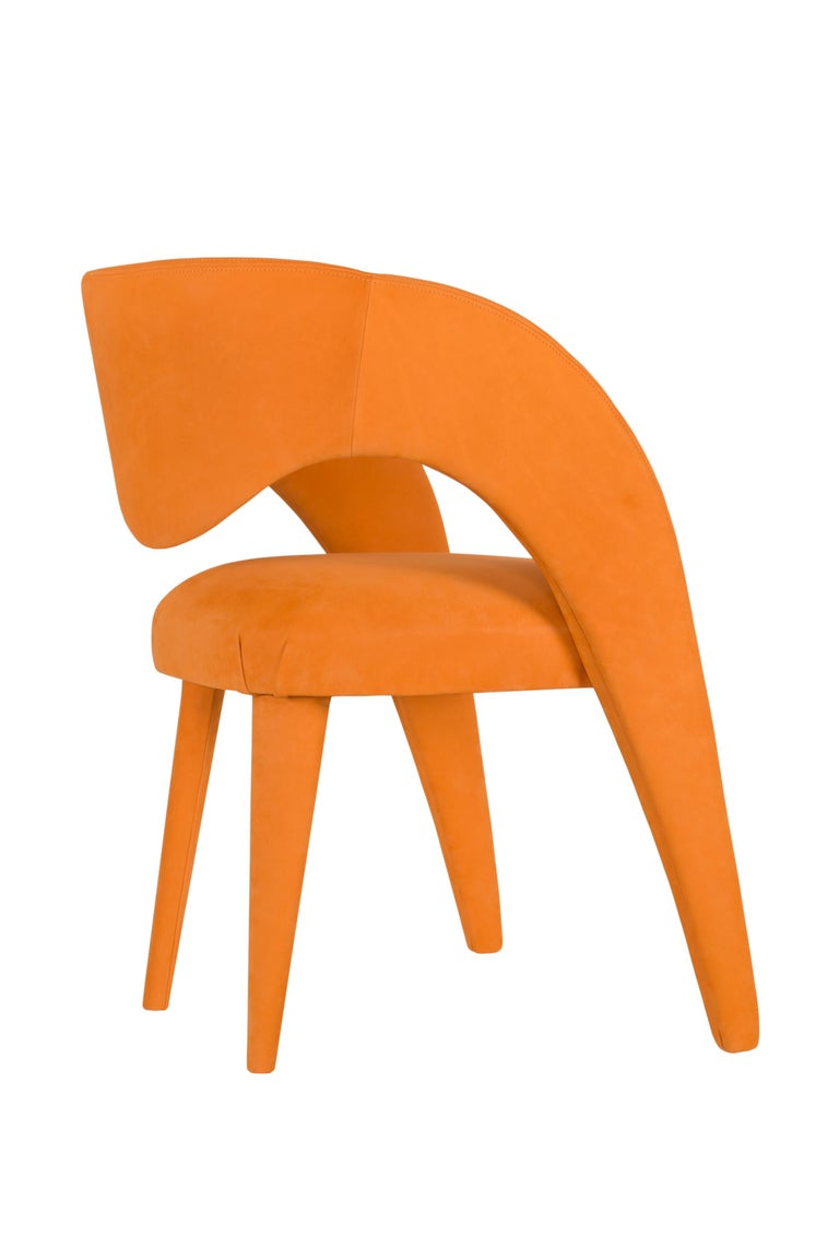 Portuguese 21st Century Modern Laurence Chair with Armrests Leather Handcrafted Greenapple For Sale