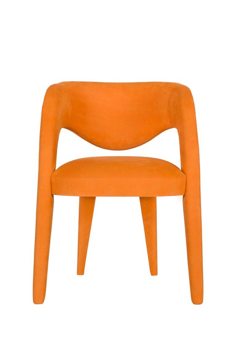 Hand-Crafted 21st Century Modern Laurence Chair with Armrests Leather Handcrafted Greenapple For Sale